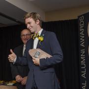 Alumni Award recipient with Chancellor DiStefano
