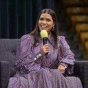 Actress, author and activist America Ferrera speaks at the CU Events Center on Wednesday, Sept. 1, 2021. (Photo by Glenn Asakawa/University of Colorado)