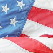 A close-up image of part of the American flag.