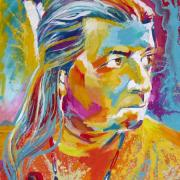 Colorful illustration of Native American