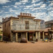 A ghost town bank.