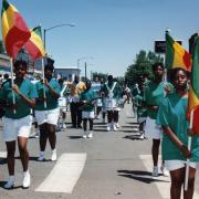 Color guard and drumline in the 1993 Juneteenth Parade in Denver's historic Five Points neighborhood
