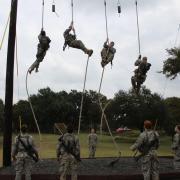 Cadet Sullivan participating in the AROTC Ranger Challenge.