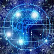 Brain overlaid on computer data