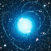 Artist's depiction of a magnetar with magnetic field lines emerging from its surface.