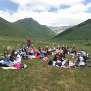 Students in mountains abroad