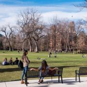 Students hanging out on Norlin Quad