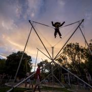 Chip takes a turn on the trampoline bungee at last year's Black & Gold Bash