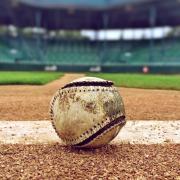 A baseball on a baseball field