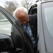 Bernie Sanders gets into a vehicle