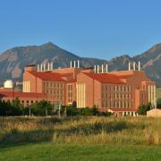 Biotechnology Building exterior with Flatirons in background