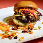 Mushroom-beef blended burger on plate