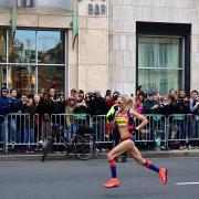 Shalane Flanagan running the Boston Marathon in 2013