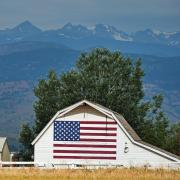 Flag on side of barn