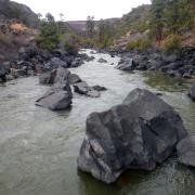Large boulders in a river