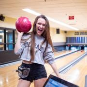 Student bowling at The Connection