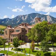 The Center for Community at CU Boulder, with Flatirons in the background