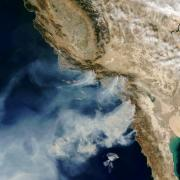California wildfire aerial view
