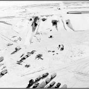 Aerial photo of Camp Century in Greenland from 1959