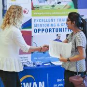 Student at career fair on campus.
