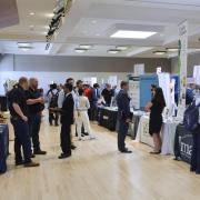 Students interact with employers at last year's Just in Time Career Fair