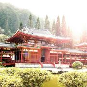 Traditional red palace in Japan