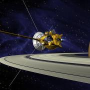 artists concept of Cassini during the Saturn Orbit Insertion (SOI) maneuver