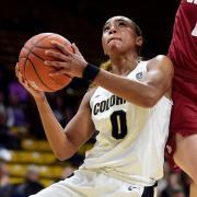 CU women's basketball playing against Washington State