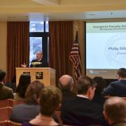 Chancellor DiStefano introduces the inaugural Faculty Awards Celebration.