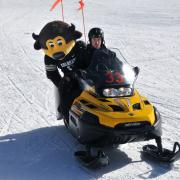 Chip on a snowmobile