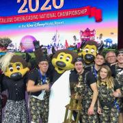 Chip and the Colorado cheerleading team after winning the 2020 Mascot National Championship