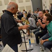 Michael Sachs works with CU Boulder trumpet section during 2015 Cleveland Orchestra residency