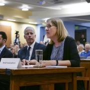 CU Boulder Chief Sustainability Officer Heidi VanGenderen testifies before the Congressional Select Committee on the Climate Crisis at CU Boulder's Wolf Law building.