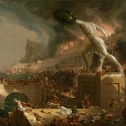 """Destruction"" from The Course of an Empire by Thomas Cole visualizes the fall of Rome. (via Wikimedia Commons)"