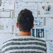 Man studies research concept map