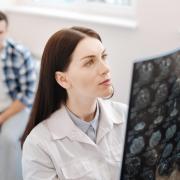 Doctor examines MRI