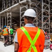 Stock photo of construction workers on site