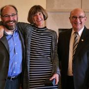 Professor Janet DeGrazia, center, is flanked by Chancellor Philip DiStefano and Associate Dean of Engineering Ken Anderson.