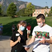 Campus community members wearing masks