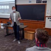 A professor lecturing a class