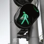 Green pedestrian crosswalk signal