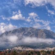 A scene of the Flatirons from the CU campus.