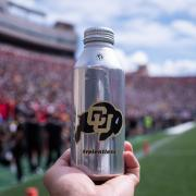 Aluminum water bottle by Ball Company as shown during the CU-Nebraska game on Sept. 7, 2019. (Photo by Glenn Asakawa/University of Colorado)