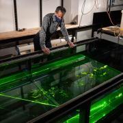 CU Boulder professor John Crimaldi works in his lab on campus