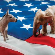 A donkey and elephant, representing the U.S. major political parties