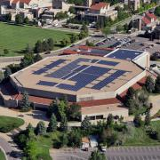 An aerial view of the CU Events Center