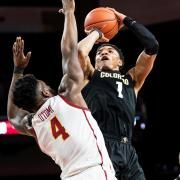 Colorado's Tyler Bey shoots the ball against USC
