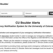 CU Alerts login page