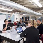 Students collaborate at the Idea Forge