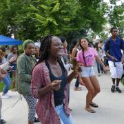 Scene from welcome back BBQ at Regent lawn during Fall Welcome